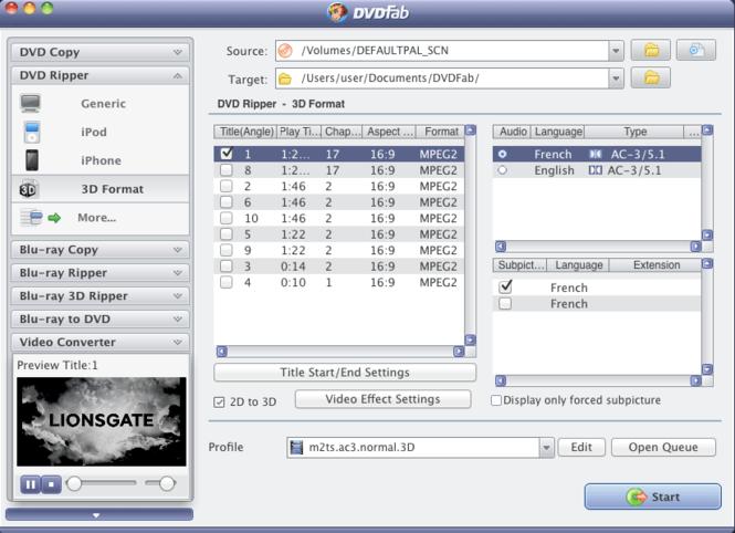 DVDFab 2D to 3D Converter for Mac Screenshot 1