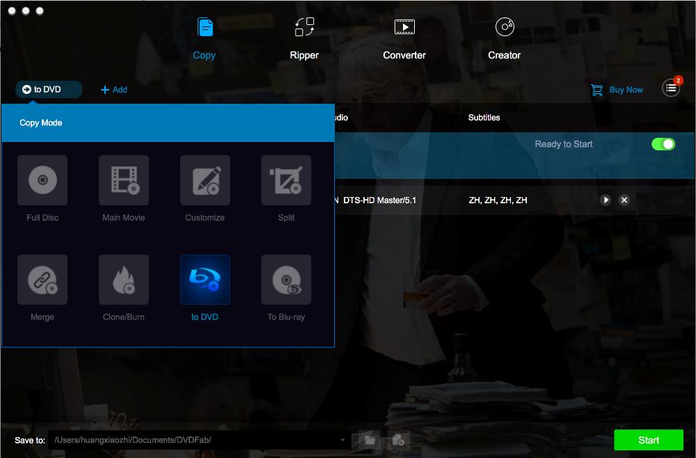 DVDFab Blu-ray to DVD Converter for Mac Screenshot