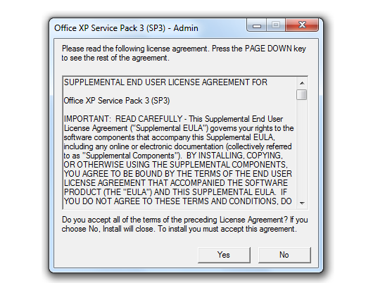 Office XP Service Pack Screenshot