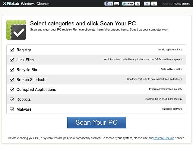 FileLab Windows Cleaner Screenshot