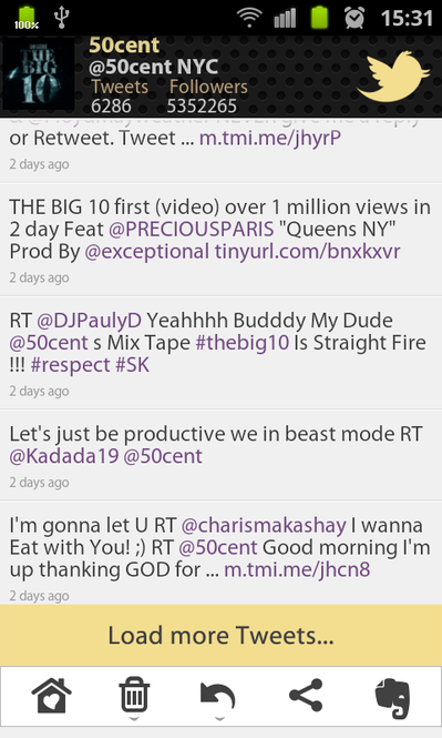50 Cent Tweets Screenshot
