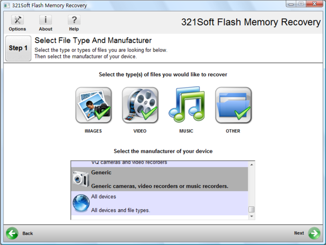 321Soft Flash Memory Recovery Screenshot