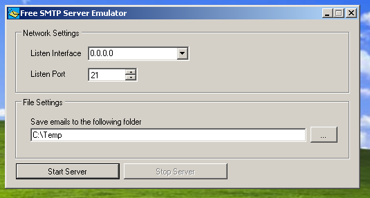 SMTP Server Emulator Screenshot