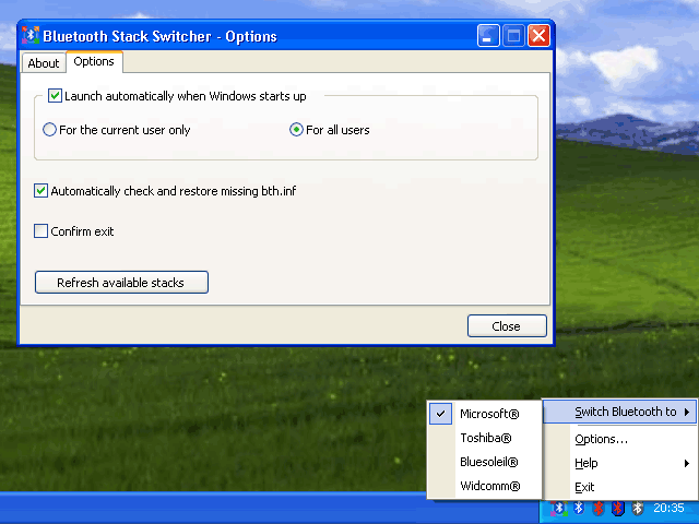 Bluetooth Stack Switcher Screenshot