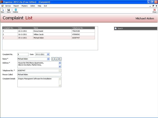 Organizer Lite 2012:Free Service CRM Screenshot 1