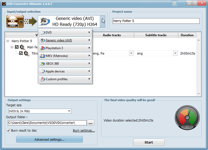 DVD Converter by VSO Screenshot 1