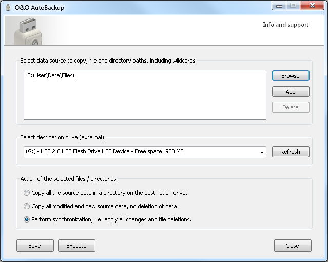 O&O AutoBackup Screenshot