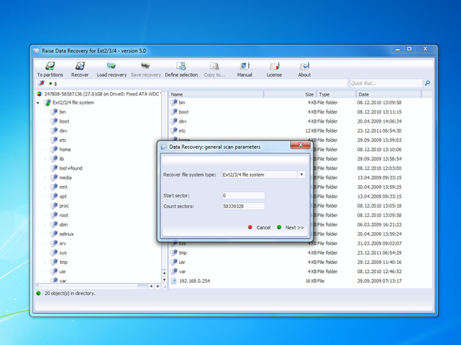 Raise Data Recovery for Ext2/Ext3/Ext4 Screenshot 1