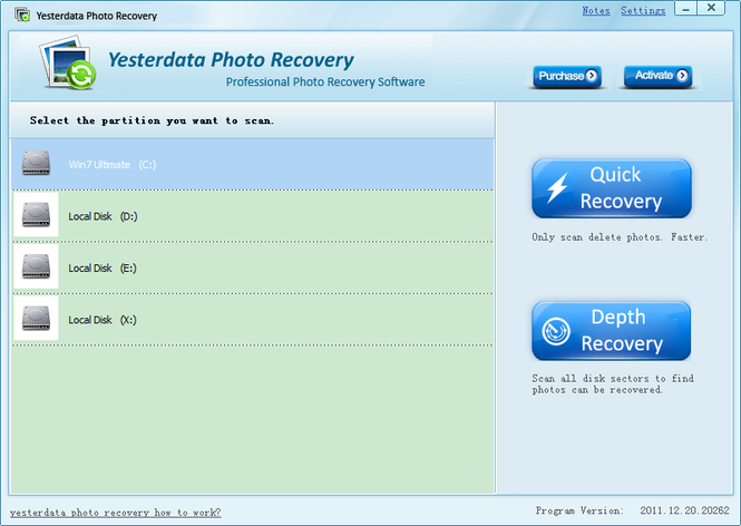 Yesterdata Photo Recovery Screenshot