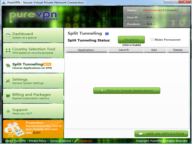 PureVPN Software Screenshot 1