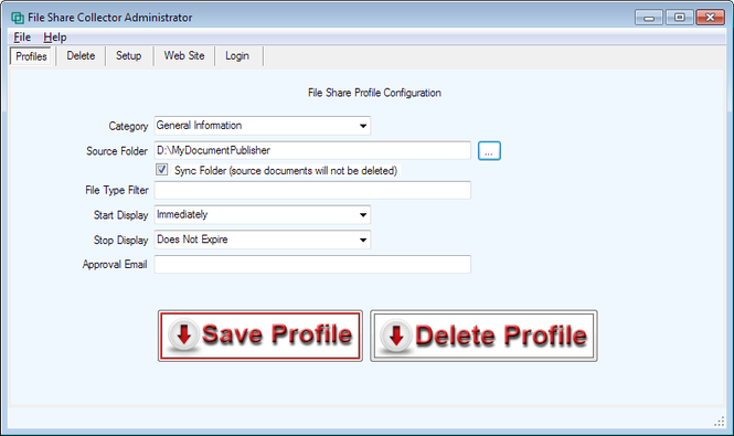 File Share Collector Administrator Screenshot 1