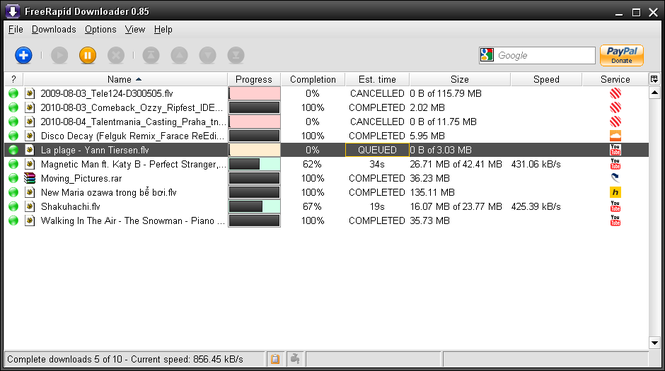 FreeRapid Downloader Screenshot