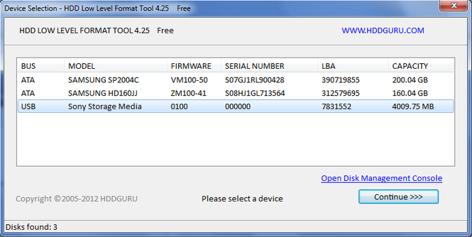 HDD Low Level Format Tool Screenshot 1