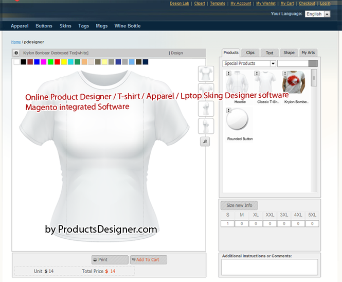 magento t shirt design tool screenshot