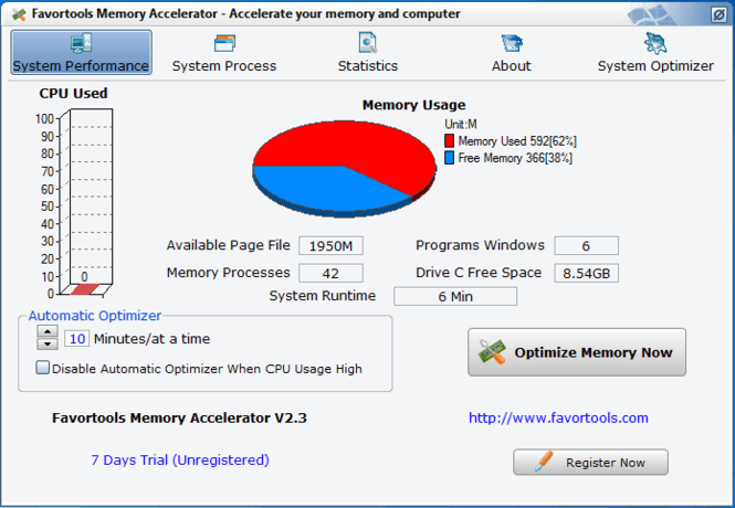 Favortools Memory Accelerator Screenshot