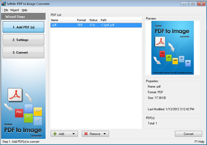 Softdiv PDF to Image Converter Screenshot