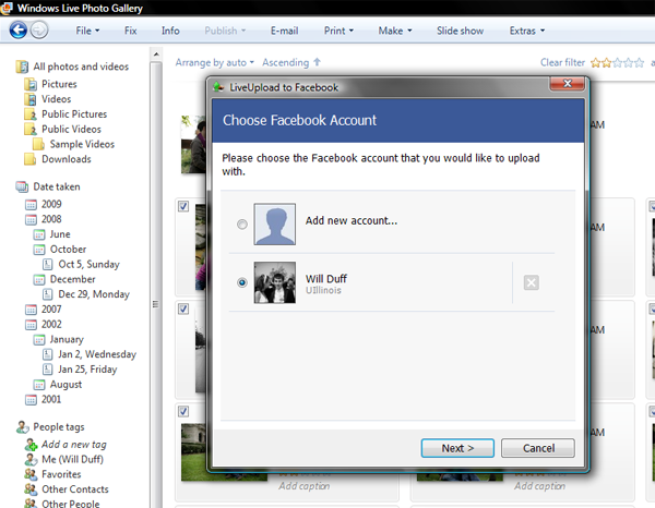 LiveUpload to Facebook Screenshot