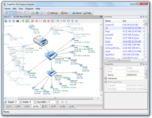 GraphVu Disk Space Analyzer 32bit Screenshot 1