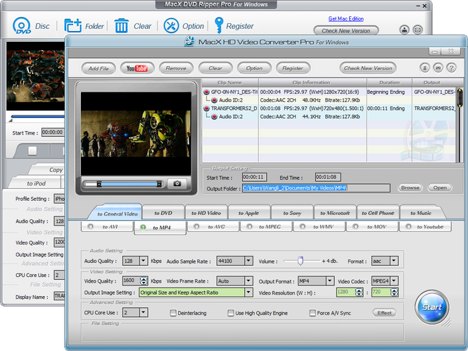 MacX DVD Video Converter Pack Windows Screenshot