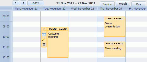 DHTMLX Scheduler for ASP.NET MVC Screenshot