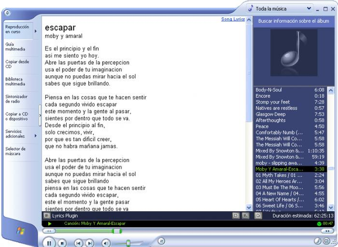 Lyrics Plugin for Windows Media Player Screenshot 1