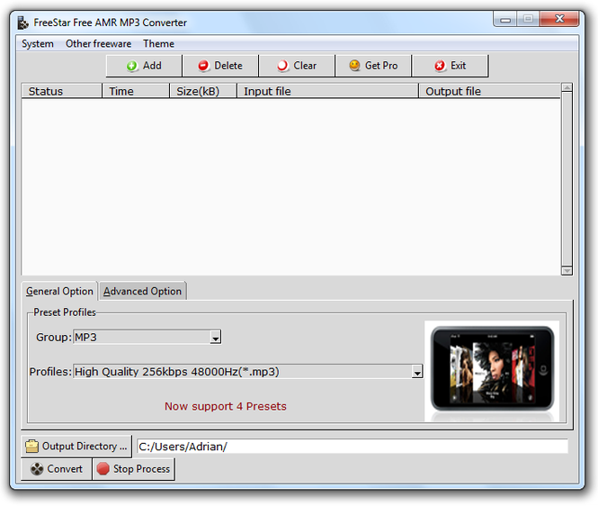 FreeStar AMR MP3 Converter Screenshot