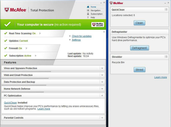 Mcafee total protection free 90-day full version subscription.