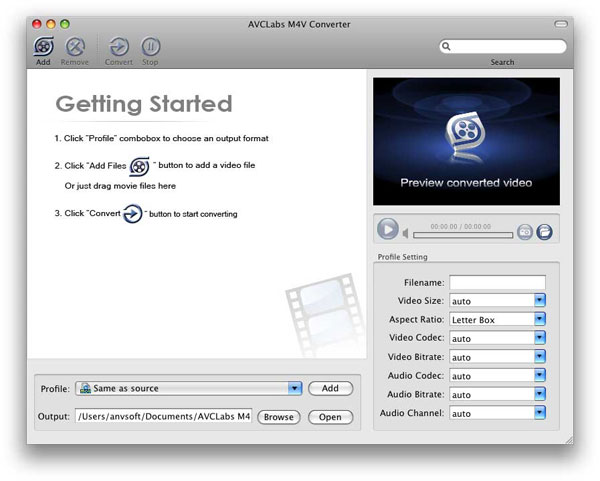 AVCLabs M4V Converter for Mac Screenshot