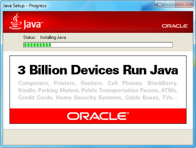 Java Runtime Environment Screenshot