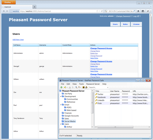 Pleasant Password Server Screenshot 1