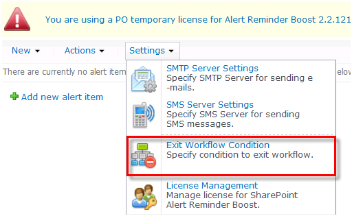 SharePoint Alert Reminder Boost Screenshot 1