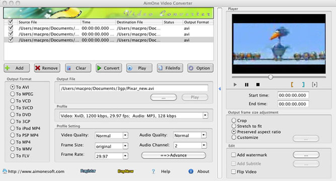 AimOne Video Converter for Mac Screenshot