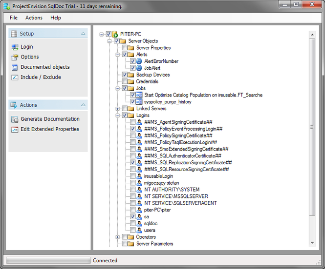 ProjectEnvision SqlDoc Screenshot
