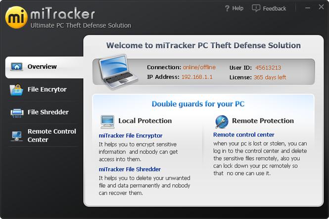 miTracker PC Anti Theft Screenshot 1