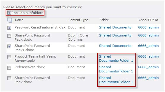 SharePoint Batch Check In Screenshot 1
