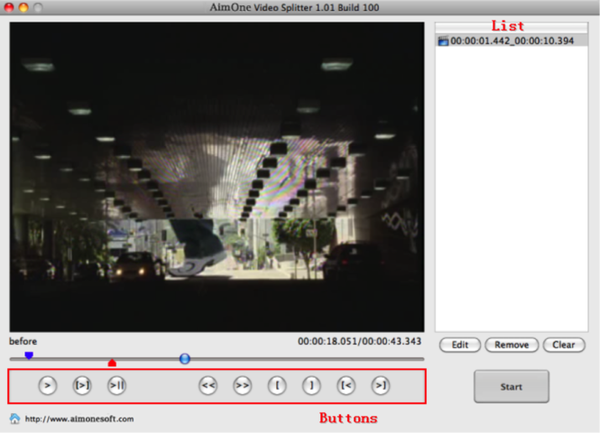 AimOne Video Splitter for Mac Screenshot