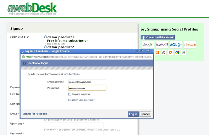 AwebDesk Membership Software Screenshot