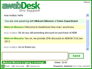 AwebDesk Live Chat Software Screenshot