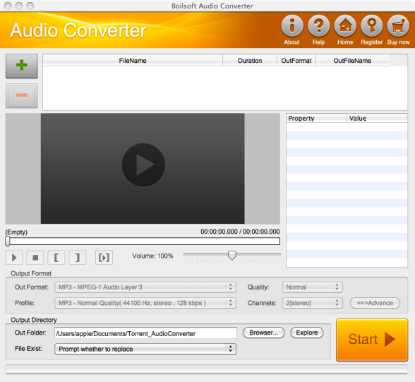 Boilsoft Audio Converter for Mac Screenshot