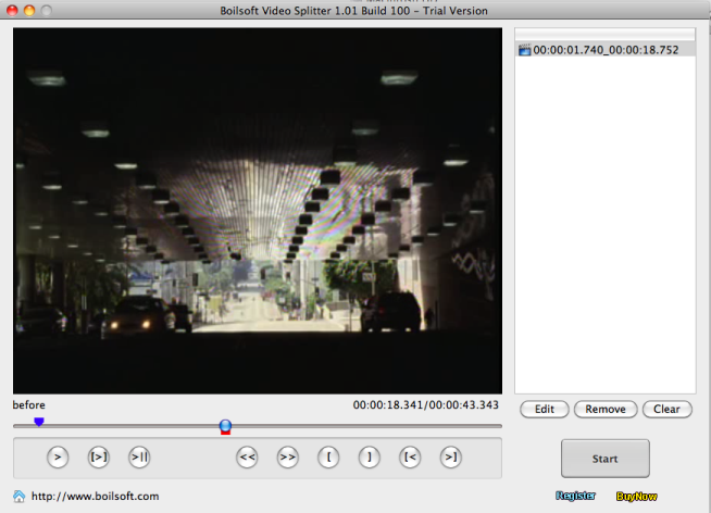 Boilsoft Video Splitter for Mac Screenshot