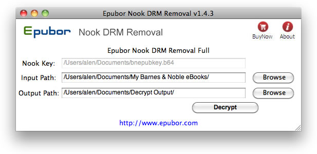 Epubor Nook DRM Removal for Mac Screenshot