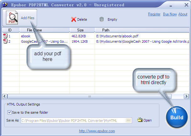 Epubor PDF2HTML Converter Screenshot