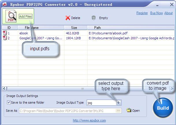 Epubor PDF2JPG Converter Screenshot 1