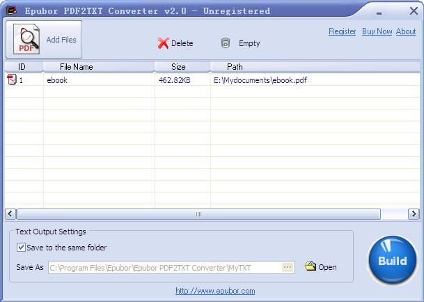Epubor PDF2TXT Converter Screenshot