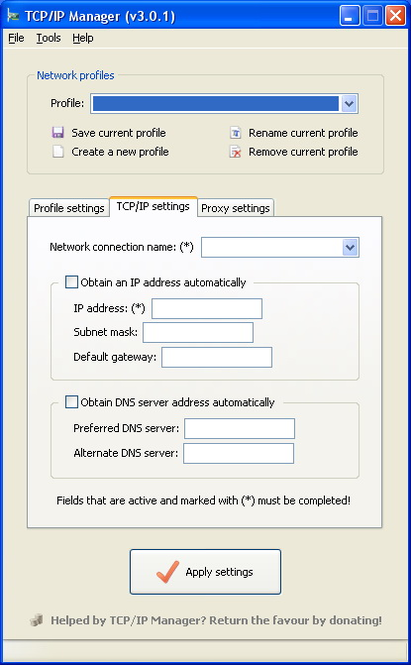 TCP/IP Manager Screenshot 1