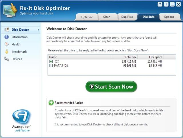 Fix-It Disk Optimiser Screenshot