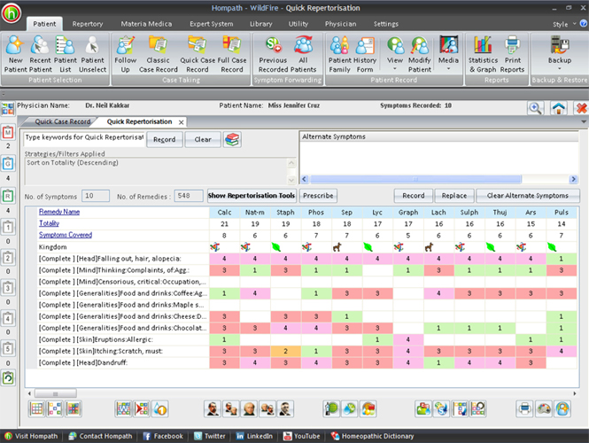 Hompath WildFire : Homeopathic Software Screenshot