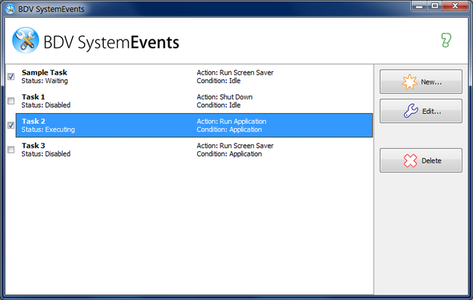 BDV SystemEvents Screenshot