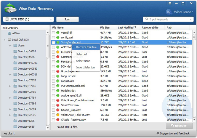 Wise Data Recovery Screenshot 1