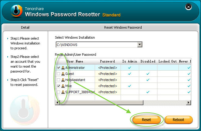 Windows Password Resetter Standard Screenshot 1